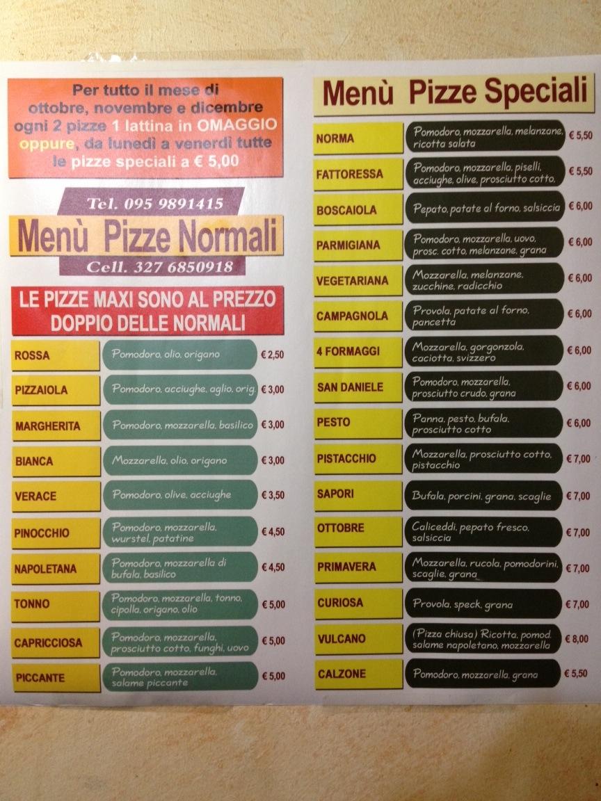 Menu Pizzeria I Sapori